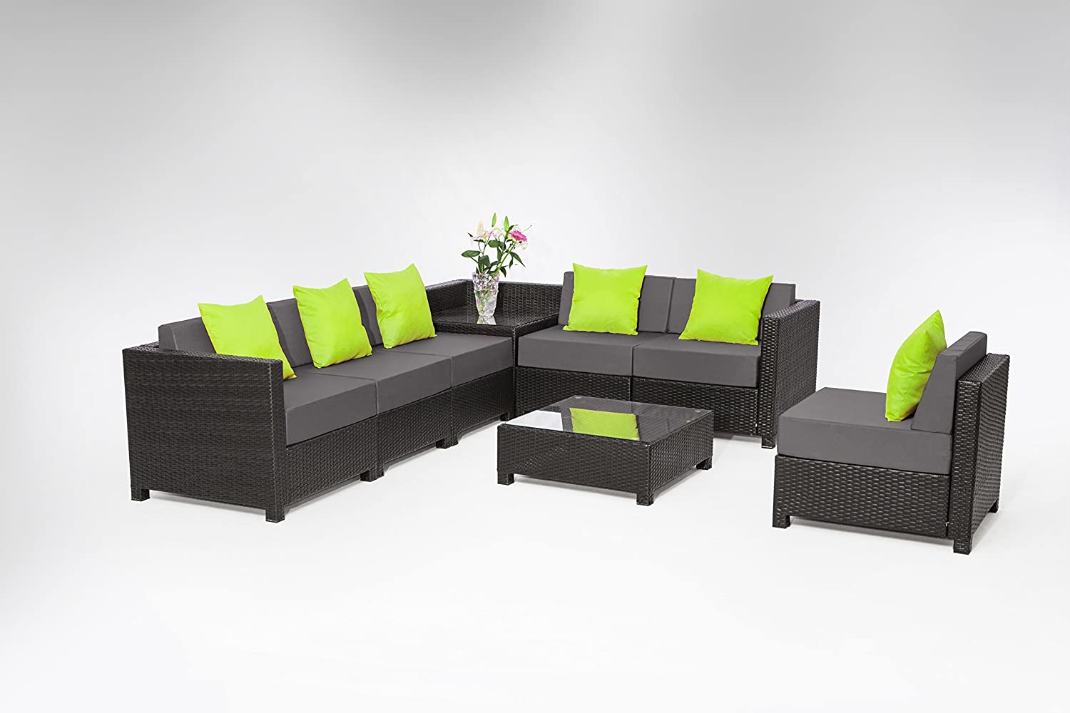 Exacme 8 pcs Luxury Wicker Patio Sectional Indoor Outdoor Sofa Furniture set Grey