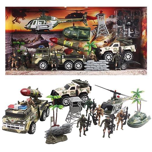 deAO Forces Armées Unité de Défense Militaire Figurines d'Action Collectables Playset - Soldats, Véhicules et Accessoires 33 Pièces au Total