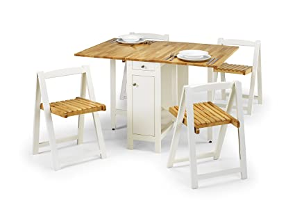 Julian Bowen Savoy Compact Dining Set, White/Natural
