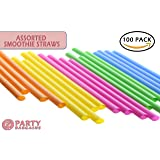 Party Bargains Smoothie Straws | BPA-Free & Reusable Assorted Bright Colors Drinking Straw | Perfect for Milkshake, Boba, Juices & more | Jumbo Pack 100 Counts