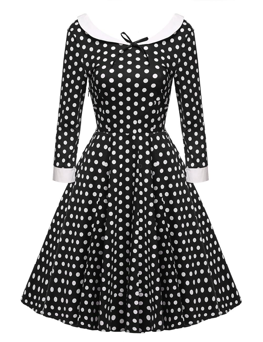 ACEVOG Women's Vintage 50s Elegant Polka Dot Formal Casual Party Dress 0