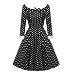 ACEVOG Women's Vintage 50s Elegant Polka Dot Formal Casual Party Dress