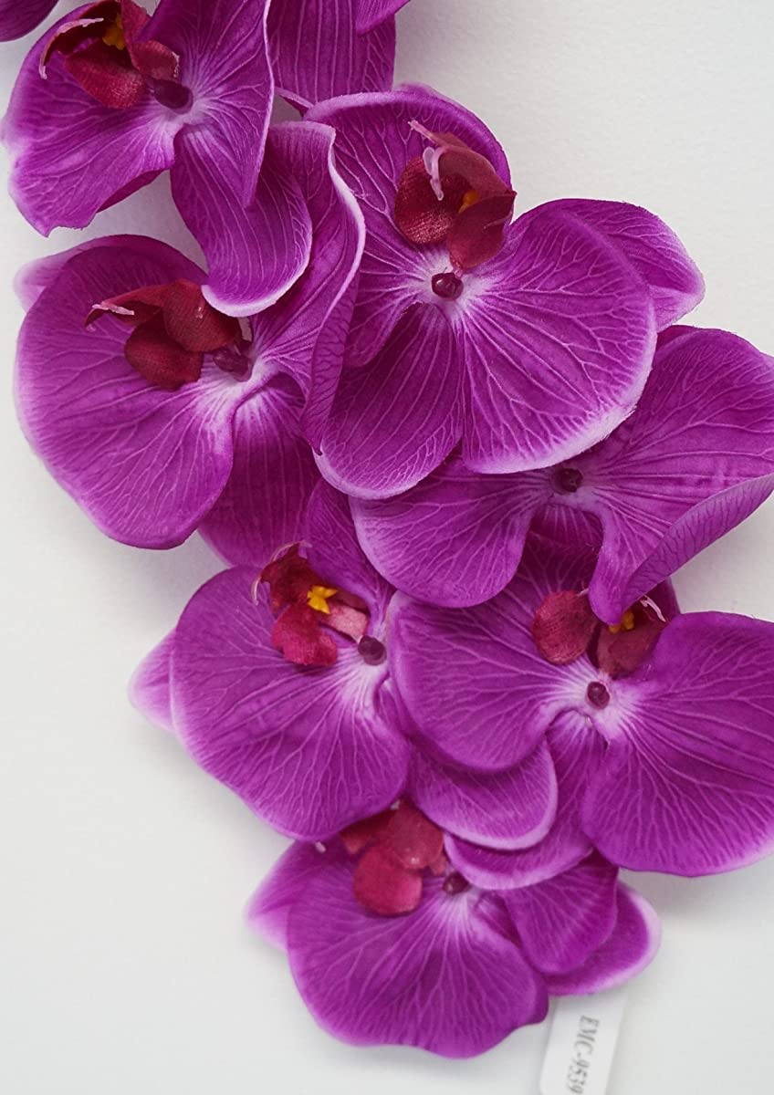 Sweet Home Deco 38'' Flannel Phanaenopsis Orchid Silk Artificial Spray (10 Flower Heads) in 7 Beautiful Colors (Deep Fuchsia)