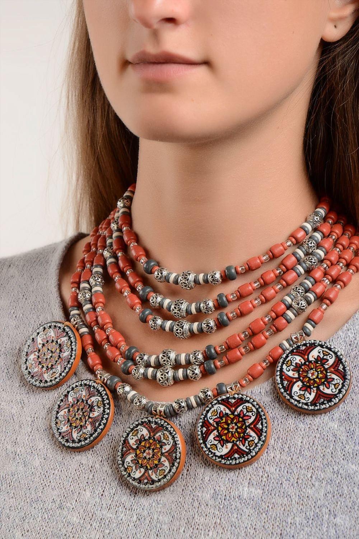 Halsketten Damen handmade Keramik Schmuck Damen Collier exklusiver Schmuck günstig