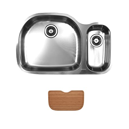 Ukinox D537.70.30.10L.C Modern Undermount Double Bowl Stainless Steel Kitchen Sink with Cutting Board