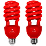2 Pack BlueX CFL Red Light Bulb 24W - 100-Watt Equivalent - E26 Spiral Replacement Bulbs - Red Bulb Decorative Illumination - for Indoor or Outdoor - DJ, Colored Bulbs CFL, Party, Halloween Bulbs (Color: Red)