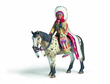 Schleich - 70300 - Figurine - Personnage - Sioux, Chef De Tribu À Cheval