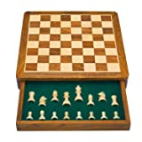 Great Birthday Gift Ideas 12 Inch Classic Wooden Chess Set With Magnetic Chess Board Handcrafted Felted Interiors For Fitted Storage Of High Quality Staunton Chess Pieces Housewarming Gifts Men Women