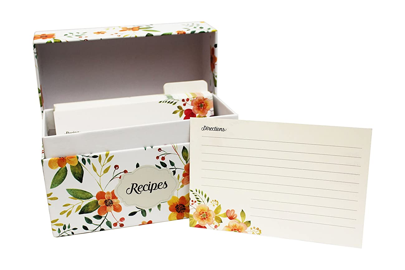 Vintage-Look Recipe Box Set With 50 Recipe Cards & 10 Blank Dividers | Holds Up To 200, 4x6 Cards | From Splendid Chef 0