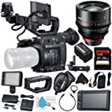 Canon EOS C200 EF Cinema Camera #2215C002 (International Model) + Canon CN-E 135mm T2.2 L F Cinema Prime Lens (EF Mount) + 256GB SDXC Card + Professional 160 LED Video Light Studio Series Bundle (Color: Starter, Tamaño: w/135mm Lens)