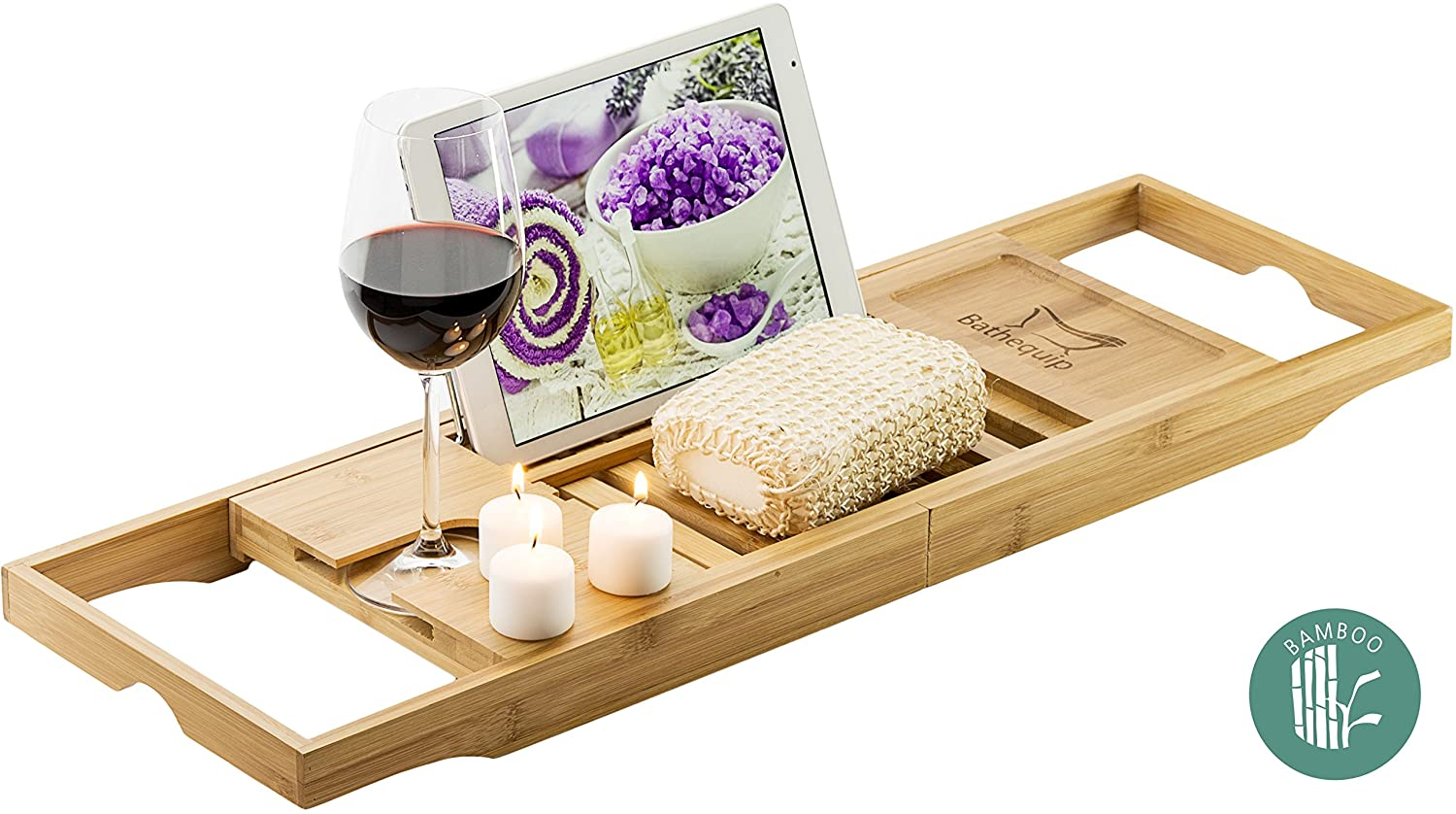 "Bamboo Bathtub Caddy Tray Organizer Extends to 41"" To Fit All bathtubs, with Multi-Angle Adjustable Bath Book Holder For Your Relaxing Bath Reading Experiance Wine Glass Slot and Cell Phone Compartment"