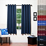 Navy Grommet Top Thermal Insulated Blackout Curtain 63 Length 1 Pair - GT