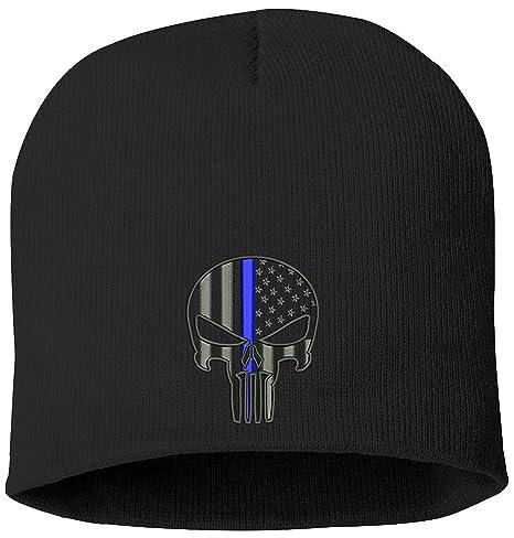 Punisher Blue Line Skull Knit Hat
