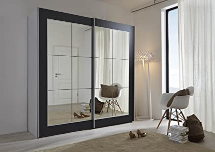 Schlafzimmer Lattice: Black Sliding Door Wardrobe with Mirror - 202cm or 301cm Wide - German Made Wardrobe (202cm Wide)