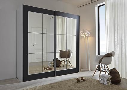 Schlafzimmer Lattice: Black Sliding Door Wardrobe with Mirror - 202cm or 301cm Wide - German Made Wardrobe (202cm Wide)
