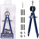OFFIZEUS - Professional Metal Bow Compass for Geometry, Math, Drawing, Drafting, School, Woodworking - Extra Lead Refills Set & Carry Bag - Creates 10