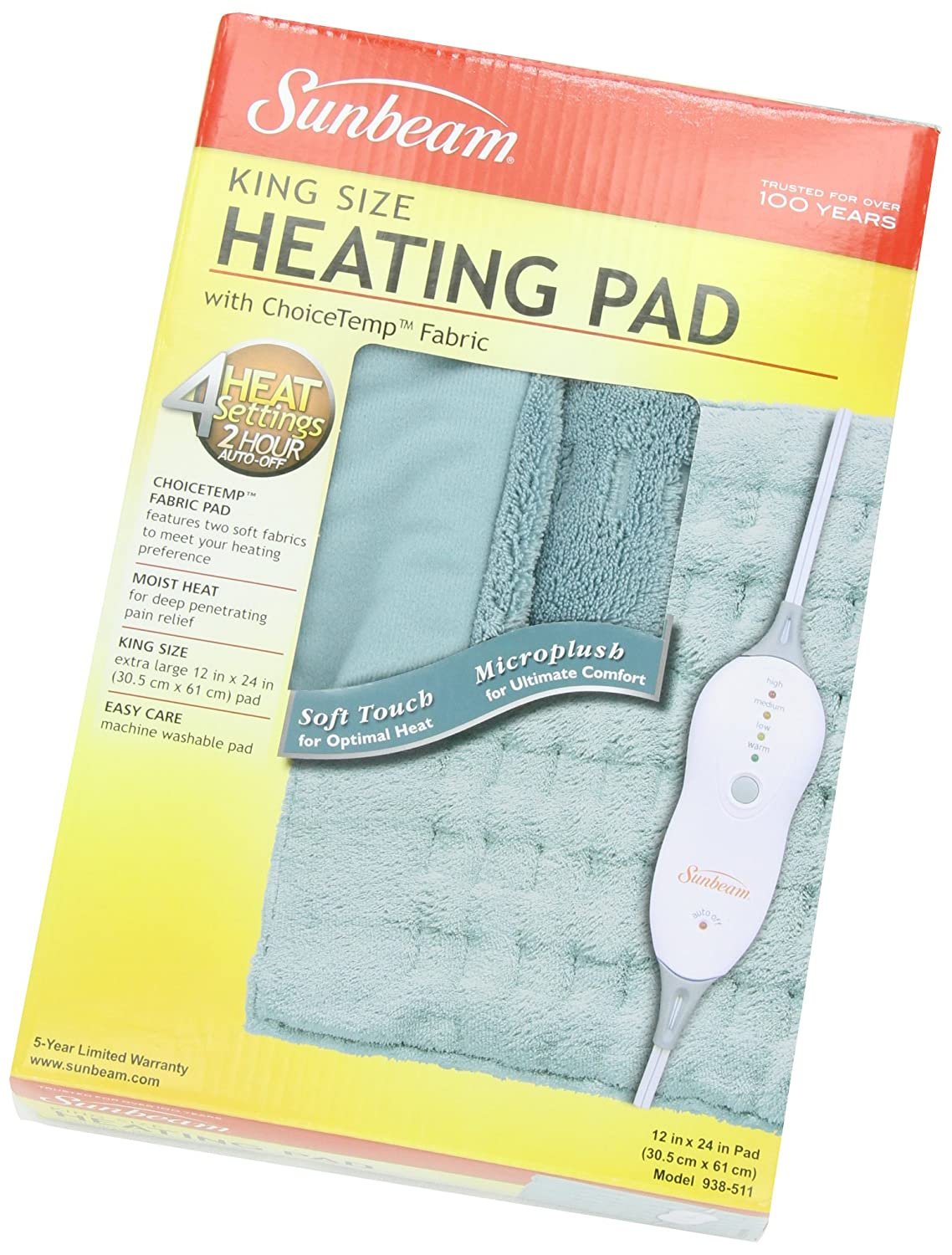 sunbeam microplush king size heating pad with led controller new free shipping