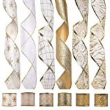 iPEGTOP Wired Christmas Ribbon, Assorted Organza Swirl Sheer Glitter Crafts Gift Wrapping Ribbon Christmas Design Decorations, 36 Yards (6 Roll x 6 yd) by 2.5 inch, White/Gold (Color: Ivory/Gold)