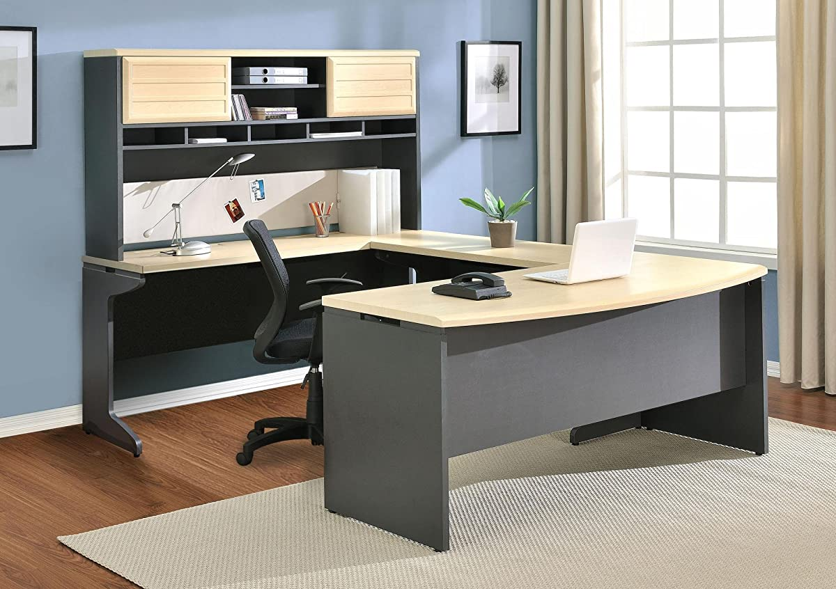Altra Pursuit L-Shaped Desk with Hutch Bundle, Natural/Gray