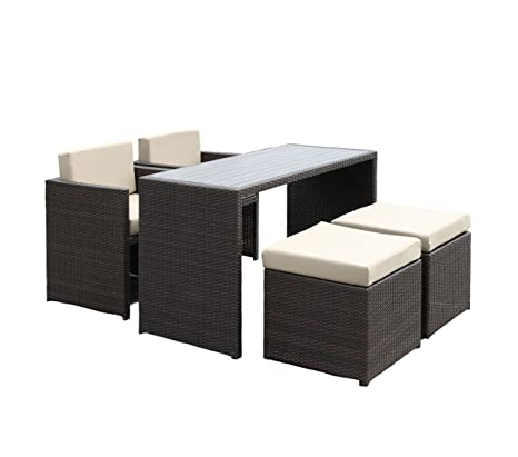 Handy Living 5 piece Wicker Indoor/Outdoor Dining Set in Beige