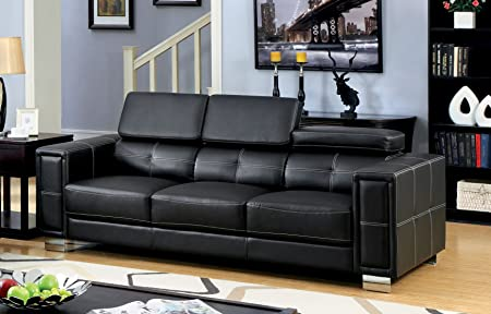 Furniture of America Clooney Contemporary Leatherette Sofa