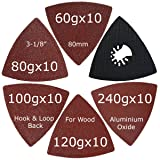 XXGO 51 Pcs Triangular 3-1/8 Inch Hook and Loop 60 80 100 120 240 Grits Oscillating Multi Tool Sandpaper and Triangle Multitool Sanding Pads Kits (Color: Red / Black, Tamaño: 51 - Piece)