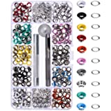 Bememo 300 Pieces Grommets Kit Metal Eyelets Shoes Clothes Crafts, 10 Colors (3/16 Inch) (Tamaño: 3/ 16 Inch)