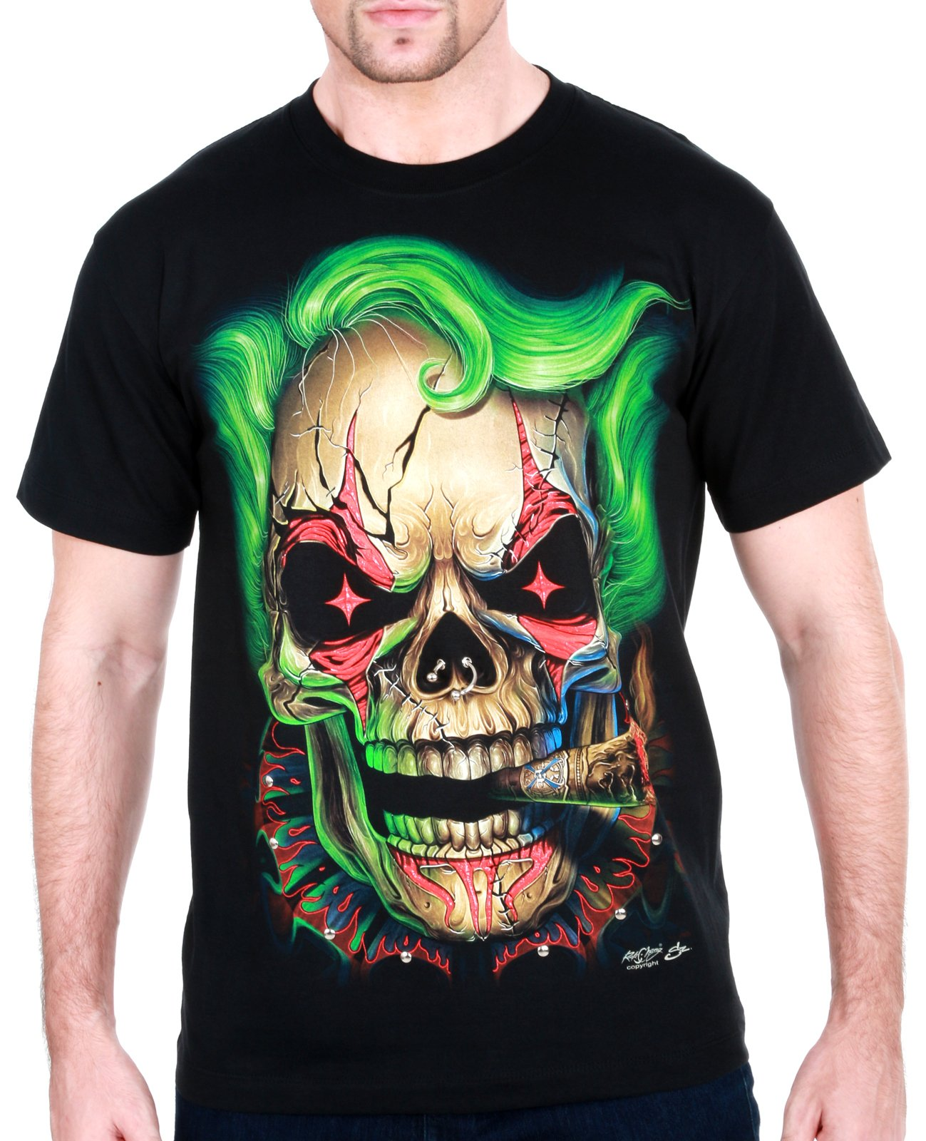 Joker Skull Men T-Shirt 3D Demon Tattoo mma Punk Rock Biker bmx Indie