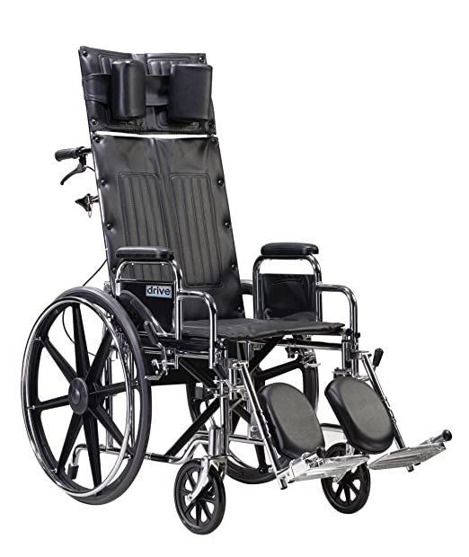 Drive Medical Sentra Reclining Wheelchair with Various Arm Styles and Elevating Legrest, 22""
