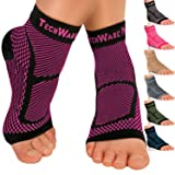 TechWare Pro Ankle Brace Compression Sleeve - Relieves Achilles Tendonitis, Joint Pain. Plantar Fasciitis Foot Sock with Arch Support Reduces Swelling & Heel Spur Pain. Injury Recovery for Sports (Color: Black / Pink, Tamaño: L / XL (Women 7.0 - 10.5/ Men 6.0 - 9.5))