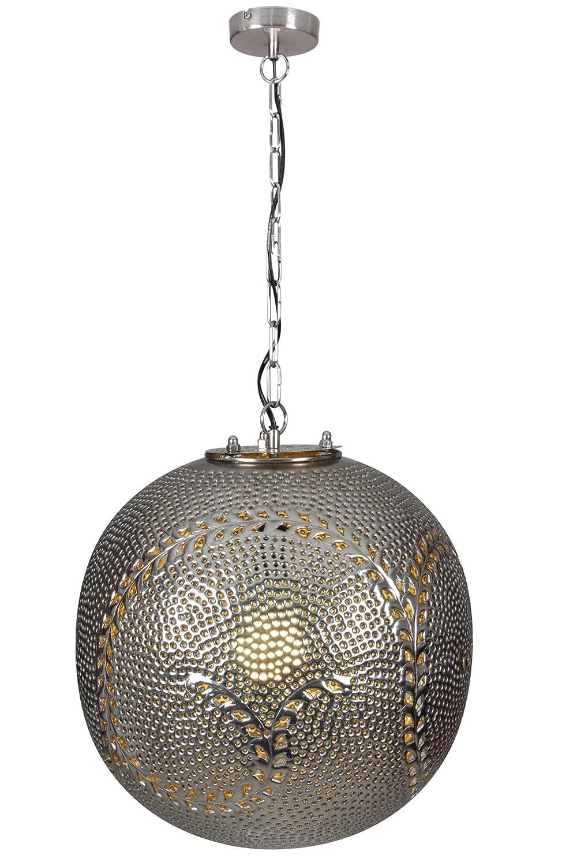 Naeve Leuchten Deko-Pendelleuchte / ø 40 cm l Pendel: 90 cm, silber 7016159