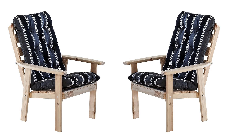 Ambientehome 90324 Gartensessel Gartenstuhl Loungesessel 2-er Set Massivholz Hanko Maxi, natur mit Kissen, schwarz / grau jetzt kaufen