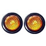 Juego de 2 LEDs redondos 15103AK de 2 pulgadas, ámbar, funciona como luz de marcador lateral para camión, plataforma, remolque, incluye luz con su arandela y cable para conexión