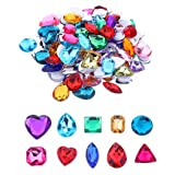 Self Adhesive Craft Jewels Jumbo Bling Crystal Gem Stickers Assorted Shapes Colors Rhinestone Stickers for Arts & Crafts Projects Pack of 110 (Color: Multicolored)