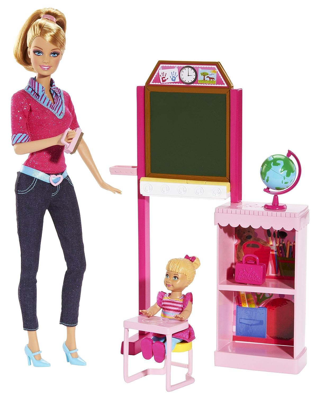 Barbie BDT51 – Ich wäre gern …. Lehrerin, mit 2 Puppen und echter Schreibtafel, Spielset kaufen