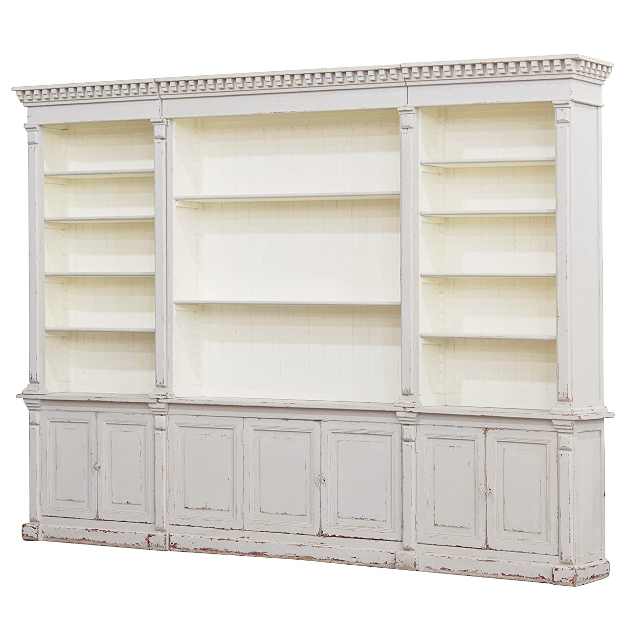 Laundress French Country Distressed Grey Large Display Bookcase 0