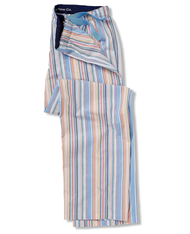 Savile Row Mens Multi Stripe Lounge Pant/ Pajama Bottom L 100% Peached Cotton