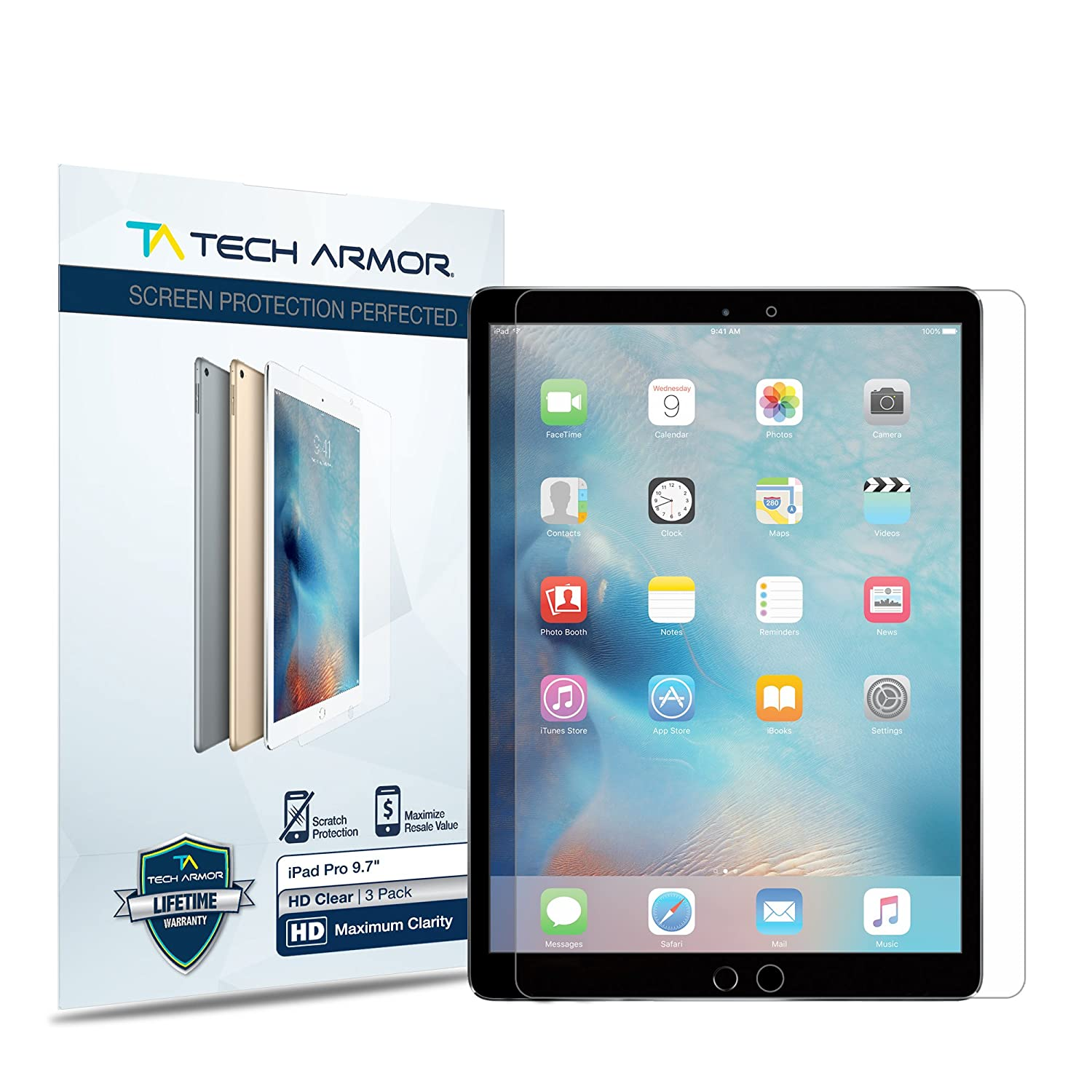 iPad Pro Screen Protector, Tech Armor High Defintion (HD) Clearfor 9.7-inch Apple iPad Pro - Maximum Clarity - Lifetime Warranty (2-Pack)