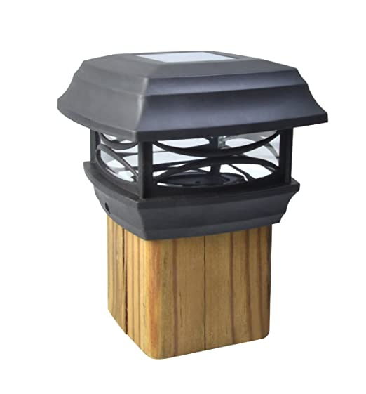 black solar powered fence post cap lights. Black Bedroom Furniture Sets. Home Design Ideas