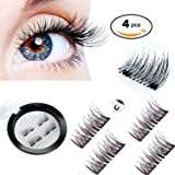 Magnetic Eyelashes 3D Reusable Fake Dual Magnet Eyelashes,Ultra Thin No Glue 0.2mm False Lashes Natural Looking and Handmade(1Pair 4Pcs)