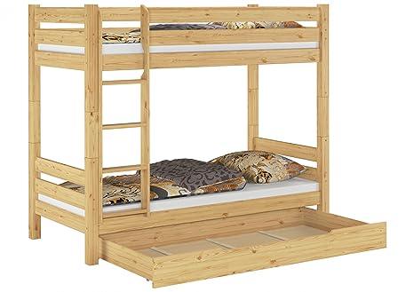 Teilbares Etagenbett Massivholz Kiefer 90x200 Bettkasten Stockbett Hohes Bett 60.11-09 100 S1