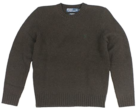 Polo Ralph Lauren Men Merino Wool Pony Logo Sweater (S, Brown)