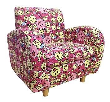 Diseño de tela de cara sonriente Charlie Shankar UK sillón, 46 x 46,5 x 43 cm