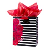 Hallmark Mahogany Large Valentine's Day Gift Bag with Tissue Paper (Floral & Stripe)