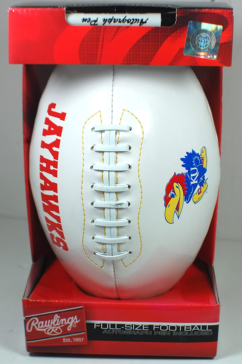 Kansas Jayhawks White Panel Autograph Football w/ Pen by Rawlings womens kansas jayhawks running athletic shorts