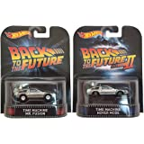 Set of 2 Hot Wheels DeLoreans: Time Machine Mr. Fusion & HOVER MODE