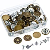 Outus 40 Sets Jeans Button Tack Buttons Metal Replacement Kit with Storage Box, 2 Styles, Bronze
