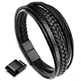 murtoo Leather Bracelet Magnetic-Clasp Cowhide Braided Multi-Layer Wrap Mens Bracelet, 8''-8.7'' (Black) (Color: Black)