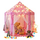 Springbuds Kids Pink Princess Castle Play Tent, Large Children Playhouse for Girls, With LED Star Lights, Perfect Indoor&Outdoor Child Toys, 55