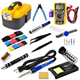 Ziss Soldering Iron Tool Kit Electronics Adjustable Temperature Welding Tool with Digital Multimeter, 5pcs Soldering Tips and 328pcs Heat Shrink Tubing
